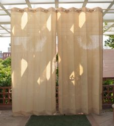 Pair of Sand Outdoor Curtains with Stainless Steel Eyelets - 185gsm Knitted - H: 2.28m (7.4ft) x W: 2.74m (9ft)