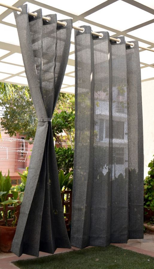 Pair of Charcoal Outdoor Curtains with Stainless Steel Eyelets - 210gsm Knitted - H: 2.28m (7.4ft) x W: 2.74m (9ft)