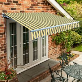 4.0m Standard Manual Awning, Yellow and grey stripe