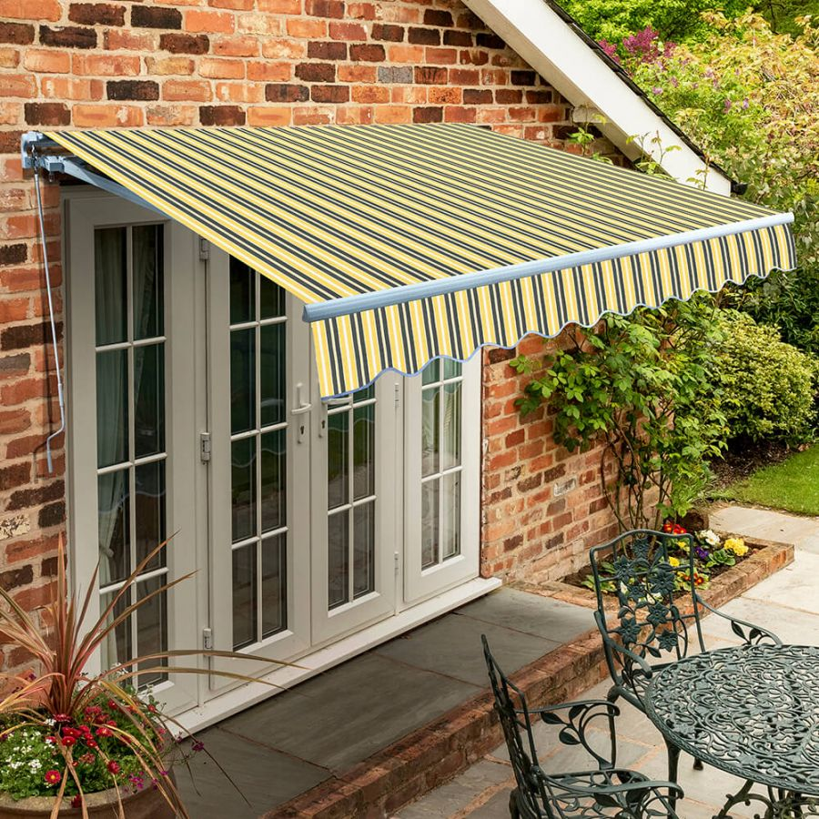 2.5m Standard Manual Awning, Yellow and Grey Stripe