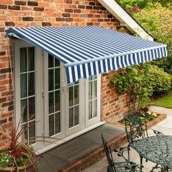 1.5m Standard Manual Awning, Blue and White Polyester