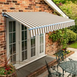 4m Standard Manual Awning, Mocha Brown and White Stripe