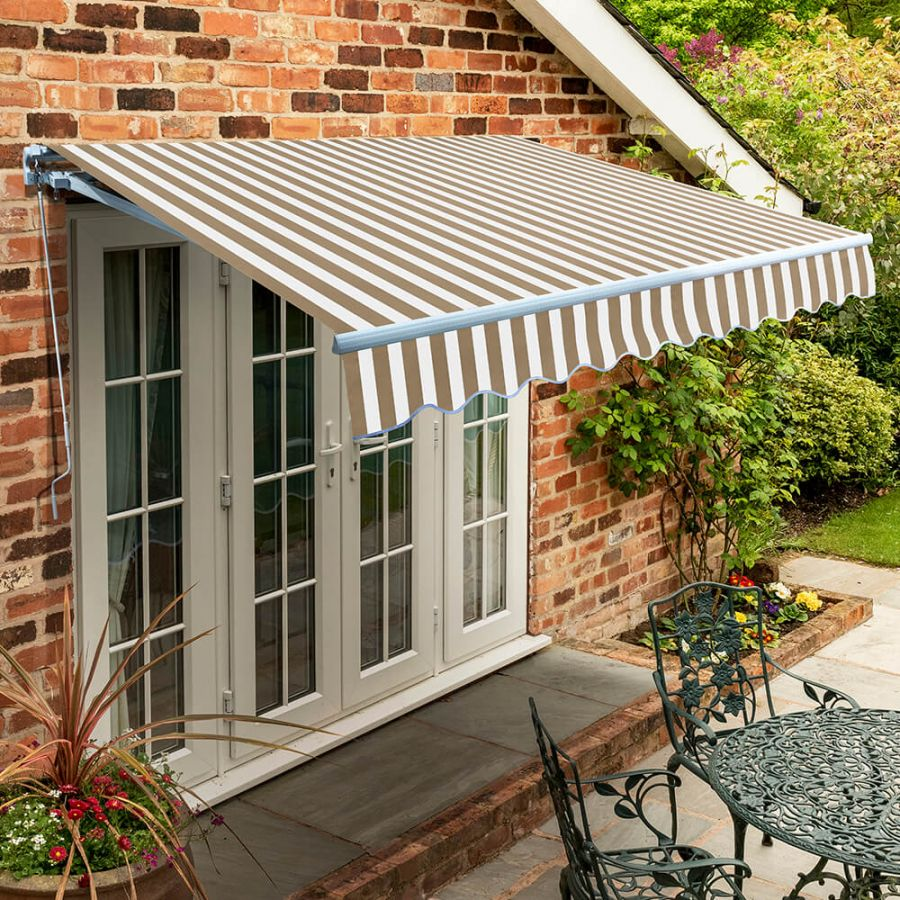 5m Standard Manual Awning, Mocha Brown and White Stripe