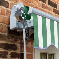 2.5m Standard Manual Awning, Green and White Even Stripe