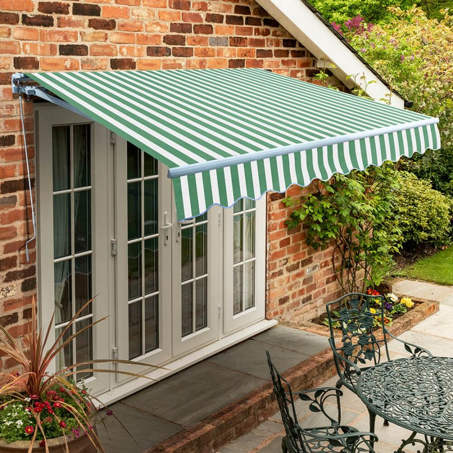 2.0m Standard Manual Awning, Green and White Even Stripe