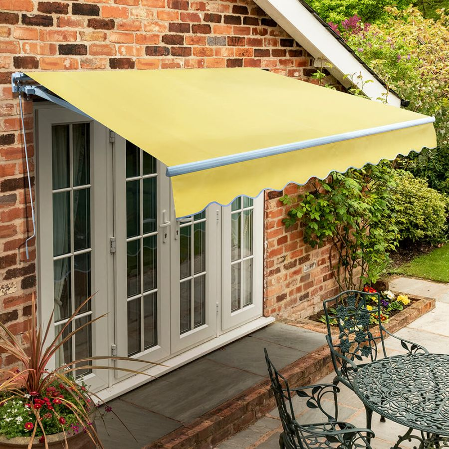4.5m Standard Manual Awning, Lemon Yellow