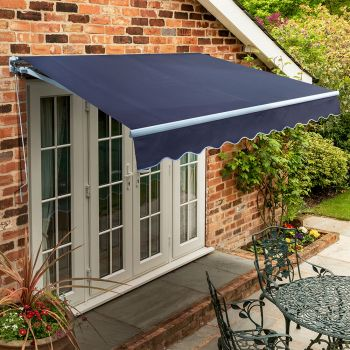 4.0m Standard Manual Awning, Plain Dark Blue