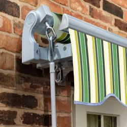 2.5m Standard Manual Awning, Green Stripe Acrylic