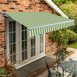 4.5m Standard Manual Awning, Green Stripe Acrylic