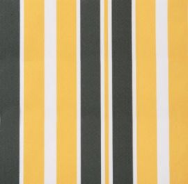 Yellow and grey stripe polyester cover for 2m x 1.5m awning includes valance