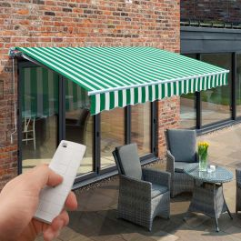 3.5m Budget Wireless Electric Awning, Green and White