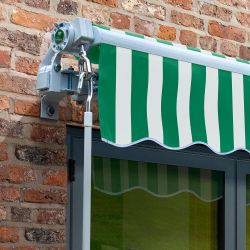 2.5m Budget Wireless Electric Awning, Green and White