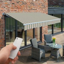 2.5m Budget Wireless Electric Awning, Multi Stripe