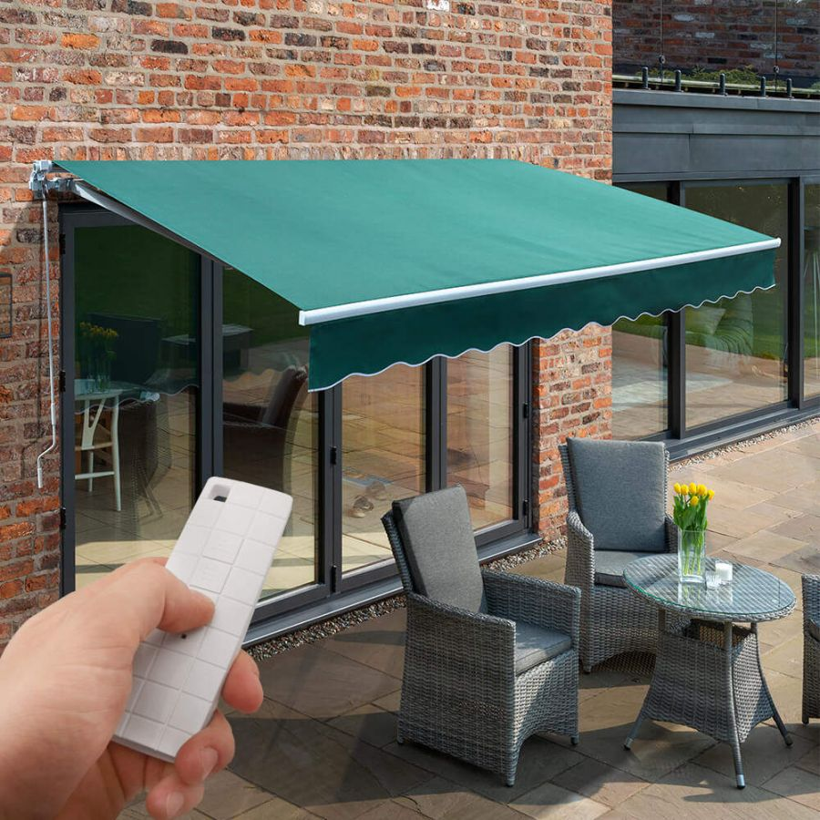 4m Budget Wireless Electric Awning, Plain Green