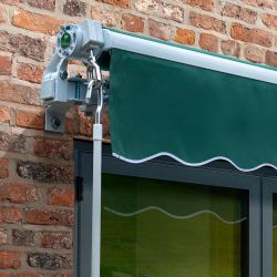 2.5m Budget Wireless Electric Awning, Plain Green