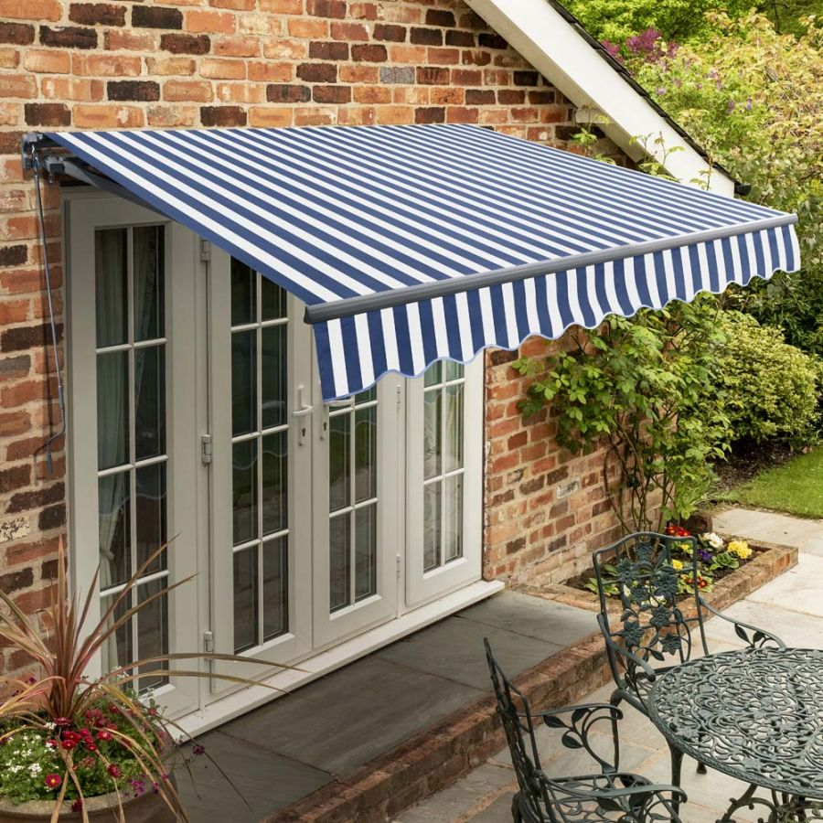 2.5m Standard Manual Blue and White Awning (Charcoal Cassette)