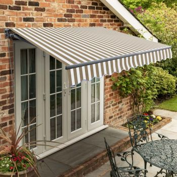 4m Standard Manual Mocha Brown and White Awning (Charcoal Cassette)