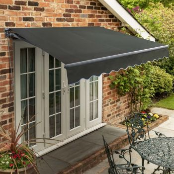 4m Standard Manual Charcoal Awning (Charcoal Cassette)