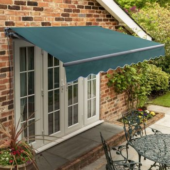 4m Standard Manual Plain Green Awning (Charcoal Cassette)