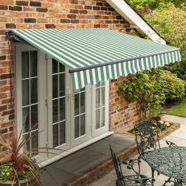 2.5m Standard Manual Green and White Awning (Charcoal Cassette)
