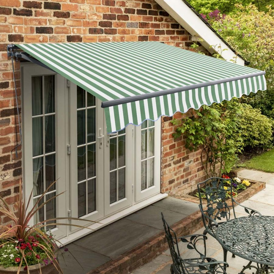 4m Standard Manual Green Stripe Awning (Charcoal Cassette)