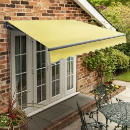 2.5m Standard Manual Lemon Yellow Awning (Charcoal Cassette)