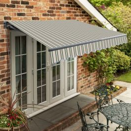 2.5m Standard Manual Multistripe Awning (Charcoal Cassette)