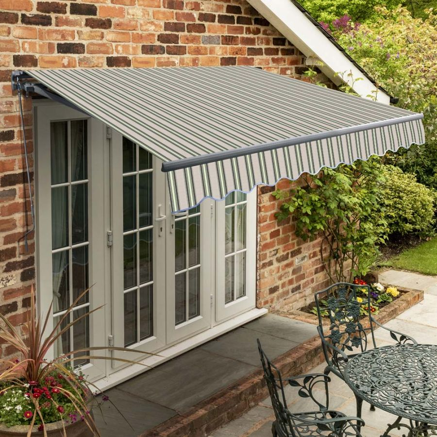 4m Standard Manual Multistripe Awning (Charcoal Cassette)