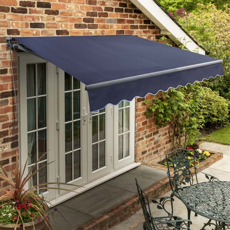 3m Standard Manual Plain Dark Blue Awning (Charcoal Cassette)