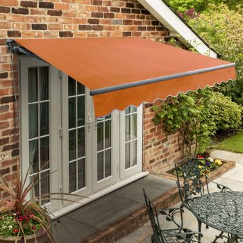 3m Standard Manual Terracotta Awning (Charcoal Cassette)