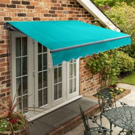 3m Standard Manual Turquoise Awning (Charcoal Cassette)