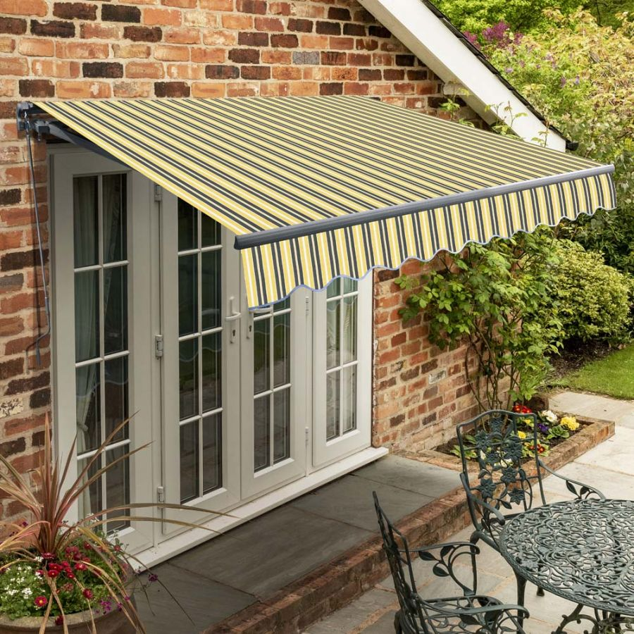 4m Standard Manual Yellow and Grey Awning (Charcoal Cassette)