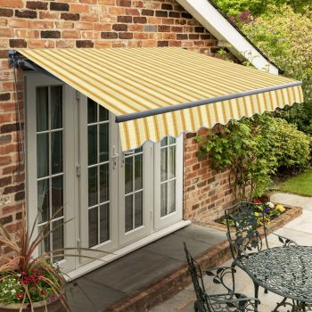 4m Standard Manual Yellow Stripe Awning (Charcoal Cassette)