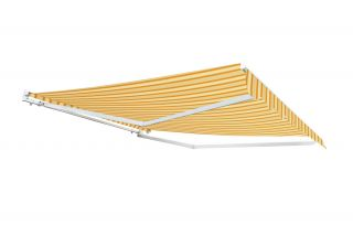 5.0m Half Cassette Electric Awning, Yellow Stripe