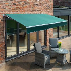 2.5m Budget Manual Awning, Plain Green