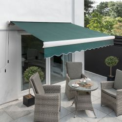 6m Full Cassette Electric Awning, Plain Green Polyester