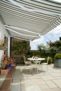 3.0m Half Cassette Manual Awning, Green and White Even Stripe