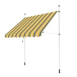 3.5m Balcony Manual Awning, Yellow and Grey