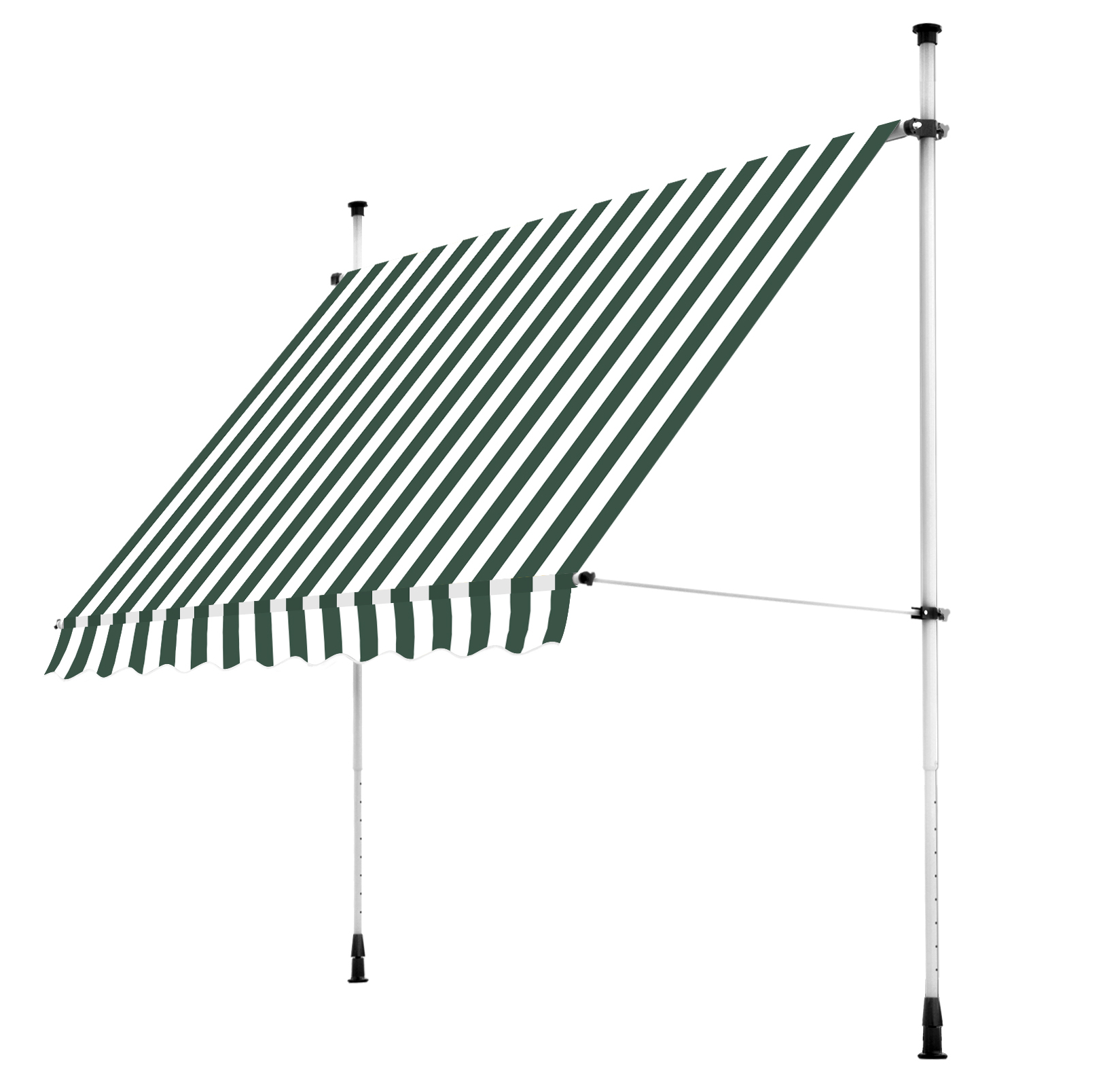 2.5m Balcony Manual Awning, Green And White £99.99