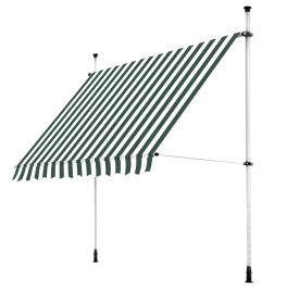 2.5m Balcony Manual Awning, Green and White