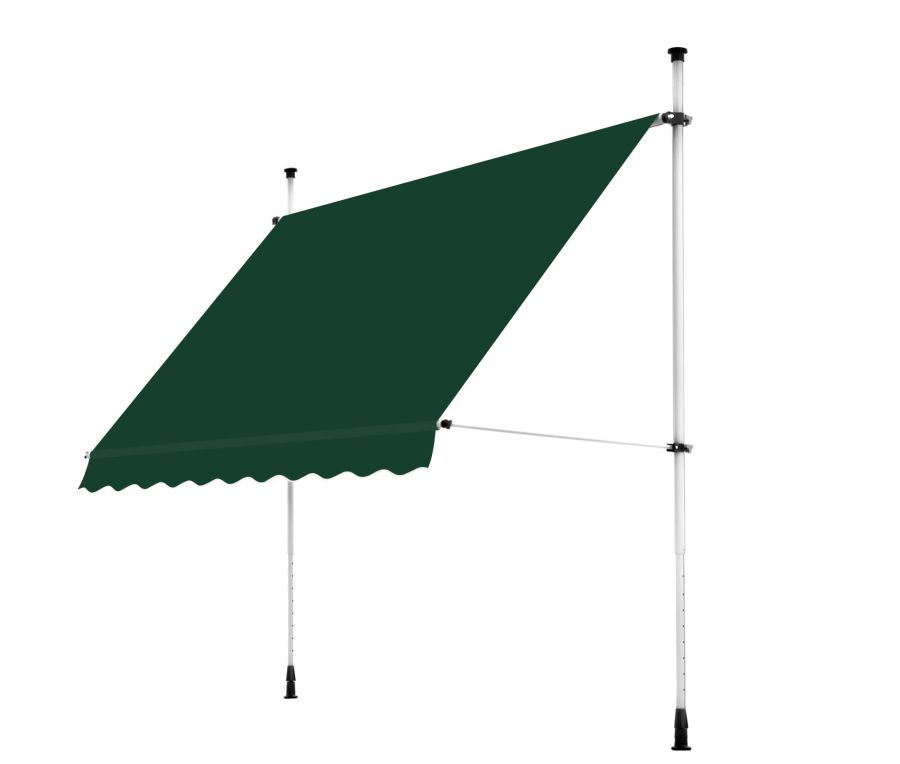 3.5m Balcony Manual Awning, Plain Green