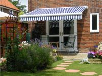 5.0m Full Cassette Electric Awning, Blue and White Stripe
