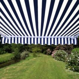 3.0m Half Cassette Electric Awning, Blue and White Stripe