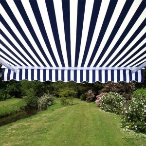 3.0m Half Cassette Manual Awning, Blue and White Stripe