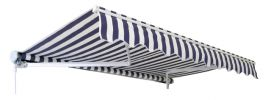 2.0m Half Cassette Manual Awning, Blue and White Stripe