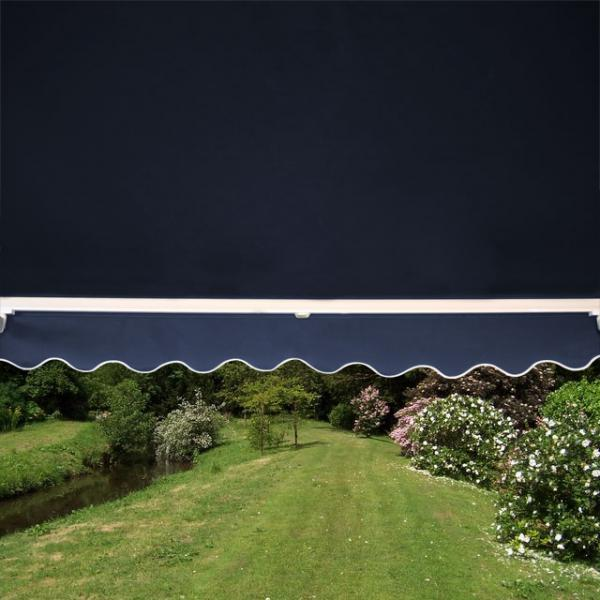 1.5m Standard Manual Awning, Dark Plain Blue Polyester