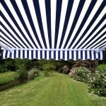 4.0m Half Cassette Electric Awning, Blue and White Stripe