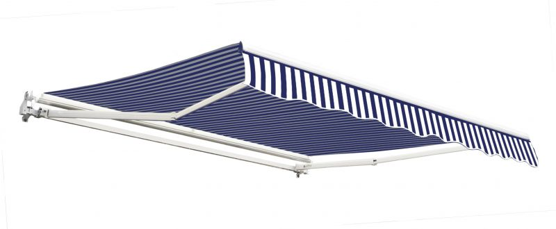 2.5m Budget Manual Awning, Blue and White