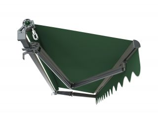 3m Budget Manual Plain Green Awning (Charcoal Cassette)