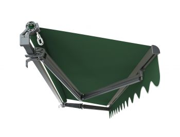 3.5m Budget Manual Plain Green Awning (Charcoal Cassette)